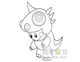 简笔画教程:卡通恐龙的绘画步骤