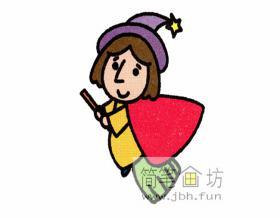 可爱的小巫女的简笔画图片