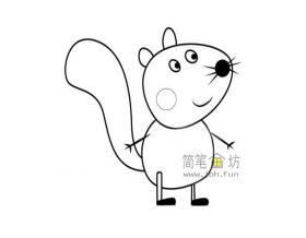 小猪佩奇里的小松鼠西蒙的简笔画画法