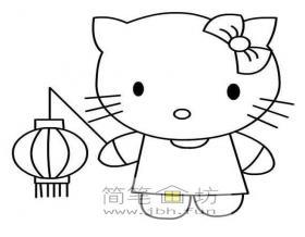 提灯笼的hello kitty简笔画图片