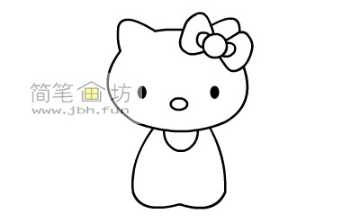 可爱的kitty猫简笔画教程(5)