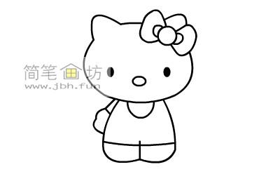可爱的kitty猫简笔画教程(7)