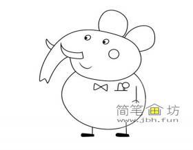 小猪佩奇简笔画-大象先生的画法步骤