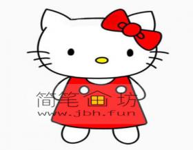 kitty猫的简笔画教程【彩色】