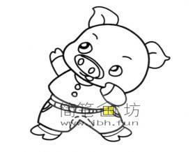 运动的的卡通小猪简笔画图片