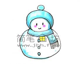 彩色雪人的简笔画教程