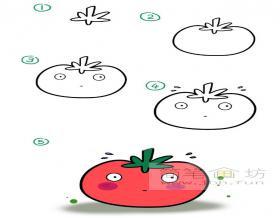 卡通西红柿简笔画教程