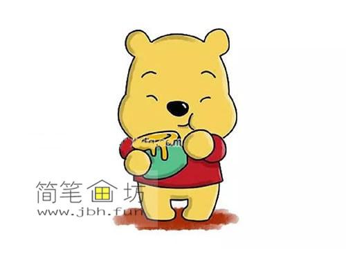 小熊维尼的简笔画教程【彩色】