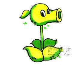 植物大战僵尸中豌豆射手的简笔画画法