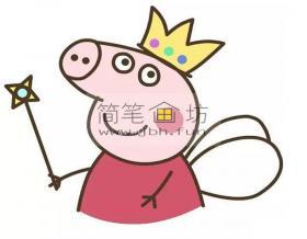 小猪佩奇简笔画_小仙女佩奇的画法