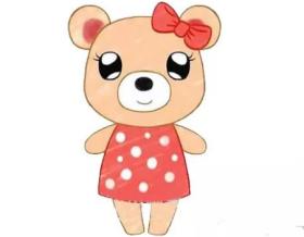 可爱的小熊妹妹简笔画绘画步骤教程【彩色】