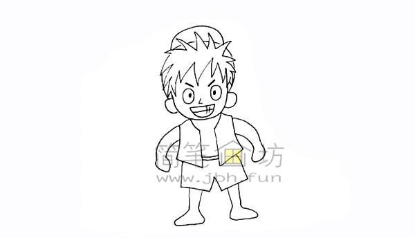 海贼王路飞简笔画简笔画教程【彩色】(12)