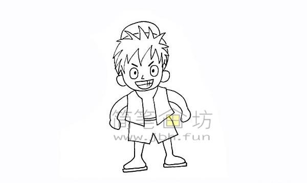 海贼王路飞简笔画简笔画教程【彩色】(13)
