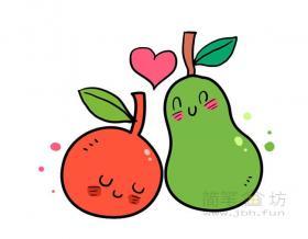 卡通梨子和橘子简笔画教程【彩色】