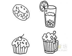 卡通食物甜品简笔画图片大全