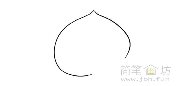 卡通桃子简笔画步骤图解教程(1)