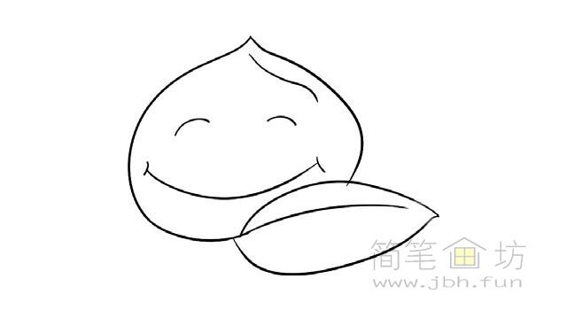 卡通桃子简笔画步骤图解教程(2)
