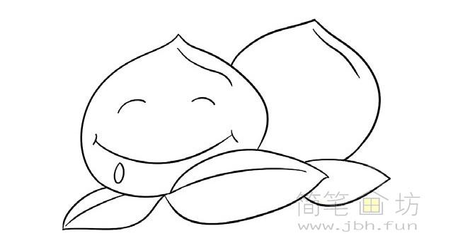 卡通桃子简笔画步骤图解教程(4)