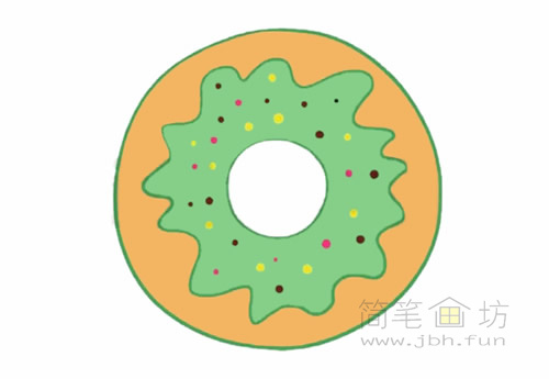 卡通甜甜圈简笔画的画法【彩色】(4)