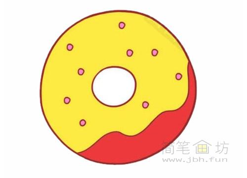 卡通甜甜圈简笔画图片大全【彩色】(2)