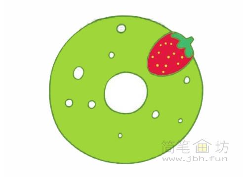 卡通甜甜圈简笔画图片大全【彩色】(5)