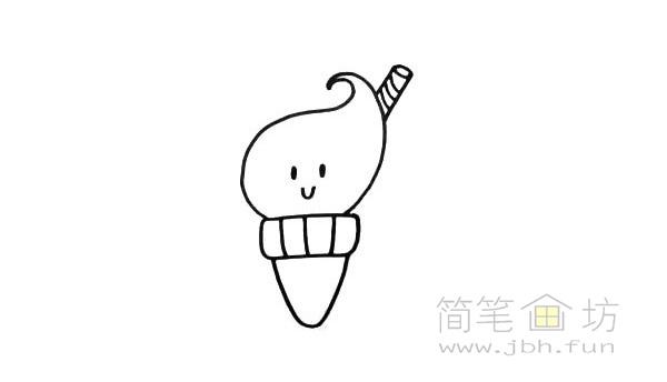 卡通甜筒简笔画【彩色】(3)