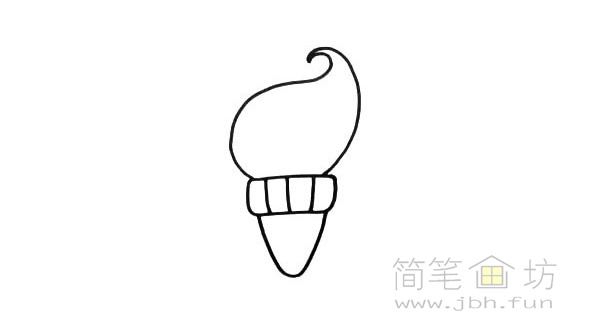 卡通甜筒简笔画【彩色】(2)