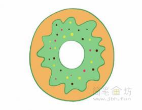 卡通甜甜圈简笔画的画法【彩色】
