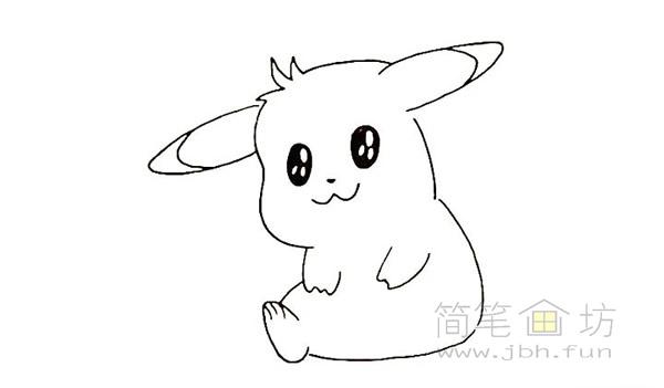 可爱的皮卡丘简笔画画法【彩色】(8)