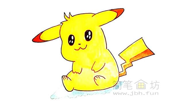 可爱的皮卡丘简笔画画法【彩色】(11)