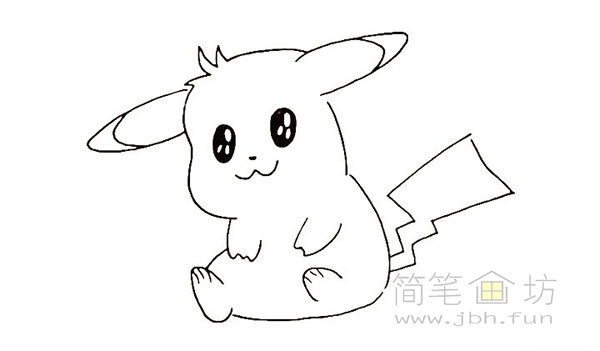 可爱的皮卡丘简笔画画法【彩色】(10)