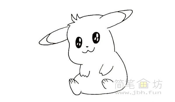 可爱的皮卡丘简笔画画法【彩色】(9)