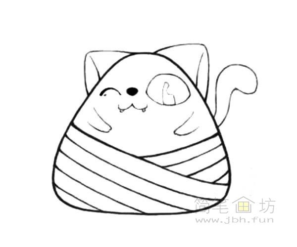 卡通小猫粽简笔画步骤教程【彩色】(4)