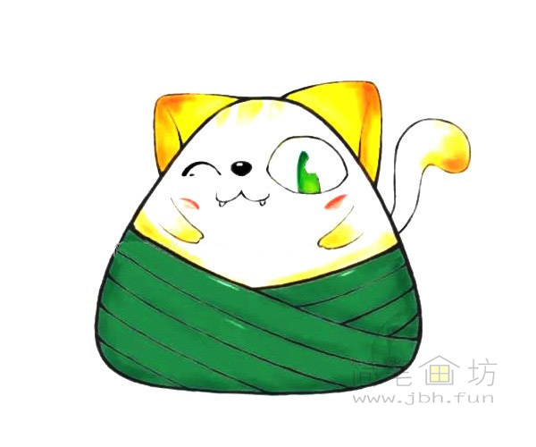 卡通小猫粽简笔画步骤教程【彩色】(5)