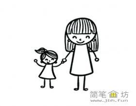 我和妈妈简笔画图片