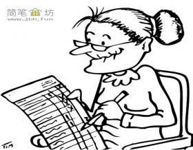 批阅试卷的老师简笔画