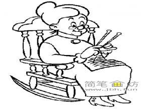 织毛衣的老奶奶简笔画图片