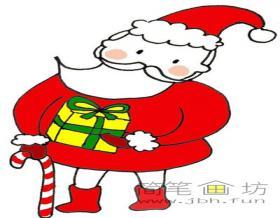 拄拐的圣诞老爷爷简笔画画法教程