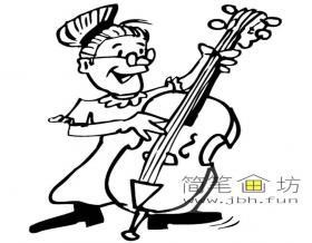 拉大提琴的老奶奶简笔画图片