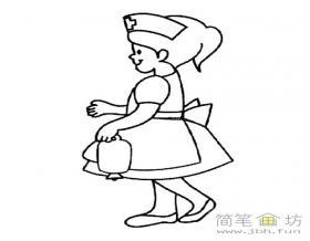 微笑的护士小姐简笔画图片