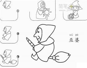 人物简笔画教程:巫婆的画法