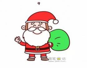 和蔼的卡通圣诞老人简笔画画法【彩色】