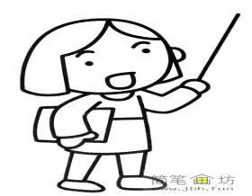 女教师简笔画人物形象