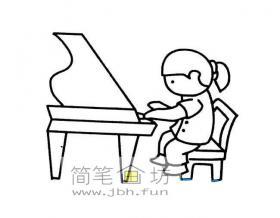 简笔画弹钢琴的小女孩简笔画图片