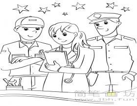 简笔画人物图片:医生、工程师、警察的画法