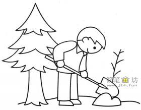 植树节简笔画:种树的人物画法教程