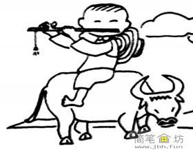 骑牛的牧童吹笛简笔画
