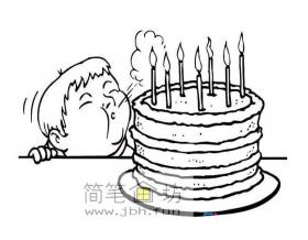 吹生日蜡烛的小男孩简笔画