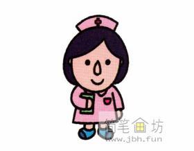漂亮的护士的简笔画画法