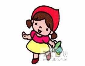 提篮唱歌的小女孩简笔画详解